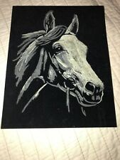 Vintage Horse Painted On Velvet Arts And Crafts Painting Cardboard 8 X 10