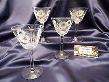 Flemington Glass Co. Carol Pattern Etched Cordial Wine Glass Goblet Set of Four