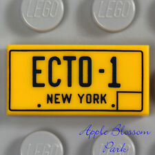 LEGO New York ECTO-1 LICENSE PLATE - 1x2 Yellow Orange Ghost Busters Tile 21108
