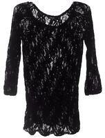 Forever 21 Women Sheer Black Lace Top Shirt Blouse 3/4 Sleeves Sz S EUC