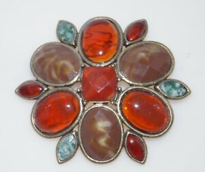"""Signed Liz Claiborne Brown Green Red Lucite Cabochon Flower Brooch Pin 2.25"""""""