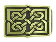 Celtic Cross Knot Rectangle Bronze Plated Belt Buckle