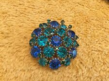 vintage costume jewellery brooch Blue And Turquoise