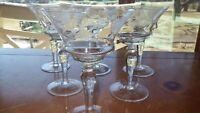 Vintage Etched Champagne Glasses Elegant cut floral elegant bowl design 6 8 oz