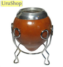M17 URUGUAYAN GOURD WITH RIM AND STAND, TRADITIONAL CUP TO DRINK YERBA MATE TEA