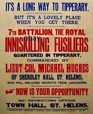 WW1 RECRUITING POSTER 7TH ROYAL INNISKILLING FUSILIERS NEW A4 SIZE PRINT