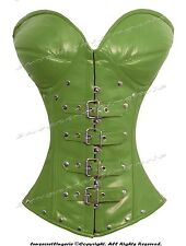 Heavy Duty 26 Double Steel Boned Waist Training Leather Overbust Corset #9797-LE
