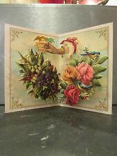 ancienne carte decoupi bouquets roses et violettes main