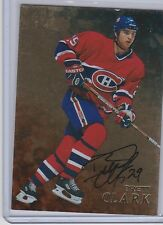1998-99 BE A PLAYER BRETT CLARK GOLD AUTO AUTOGRAPH 220 MONTREAL CANADIENS