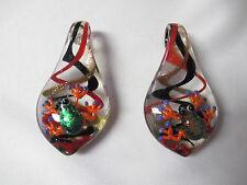 FROG Pendants lot of 2 Jumbo Glass Lampwork WHOLESALE Froggy Nature Art Pendant