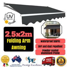 2.5 x 2m Folding Arm Awning Grey Outdoor Canopy Shade Aluminium Frame Polyester