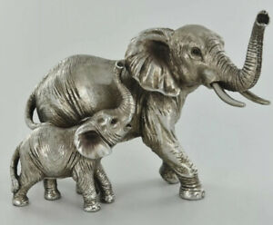 Mother & Baby Elephant Ornament Statue Sculpture Antique Silver African Animals