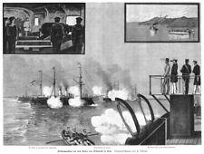 Austro-Hongroise marine dans Pola, Pula, Original-Gravure sur bois d'environ 1890