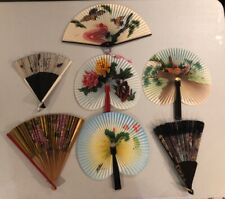 Lot Of Vintage Antique Hand Fan Celluloid Fabric Paper Wood