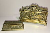 Vintage 3 pc Brass Desk Set w Letter Holder, Hinged Lid Stamp Box, & Ink Blotter