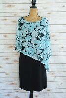 NWT Connected Apparel - Aqua BLACK floral chiffon overlay sheath dress, size 8