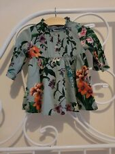 Next Green Floral Long Sleeve Ruffle Dress Age 3-6 Months