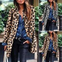 ZANZEA Womens Long Sleeve Leopard Print Cardigan Outwear Ladies Coat Jacket Plus