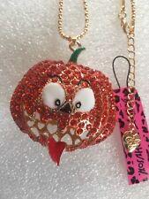 ORANGE Crystal Halloween Big Pumpkin Betsey Johnson Necklace-BJ47011