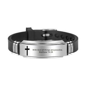 Religious Adjustable Cross Jesus Unisex Bracelet Bangle Watch Christ Prayer Gift