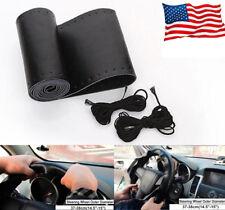 "Genuine Leather Steering Wheel Cover for Car SUV Truck Medium 38cm 15"" Black"