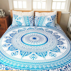 Indian Mandala Bedding Bedspread Coverlet Bohemian Queen Size Bed Cover Throw