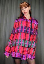 Vintage 80s Crazy Bright Retro Colourful Plaid Geometric Womens Jacket AUS 16 XL