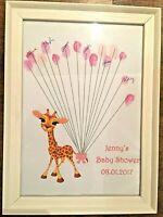 BABY SHOWER GAMES Giraffe Fingerprint Guestbook Keepsake Personalised + Ink pad