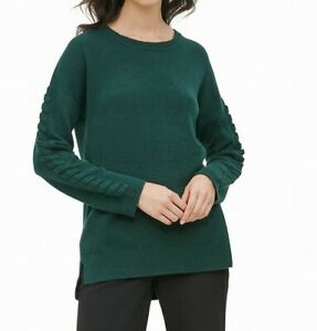 Calvin Klein Women's Sweater Hunter Green Size XL Rib Knit Pullover $79 #055