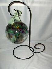 Hand Blown Glass Ball Ornament Black Metal Stand Gazing Ball  Art Glass NICE