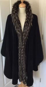 DENTS Vintage Cape black velvet faux fur collar cape cover up, jacket