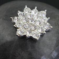 Lot 5 Pcs Clear Rhinestone Flower Silver Alloy Embellishment Flatback Buttons