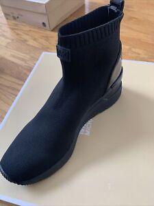 MICHAEL KORS SKYLER SLIP ON BOOTIES SNEAKERS Fabric & Patent Sz 6.5 New