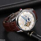 Men's Luxury Watch Genuine Leather Skeleton Mechanical Automatic Wrist Watch