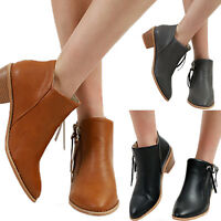 Women's Retro Leather Ankle Casual Side Zipper Mid Block Heel Pointed Toe Boots