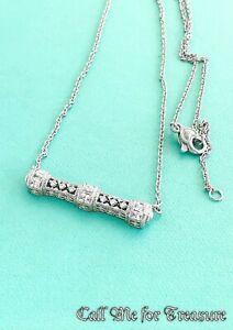 Judith Ripka 925 sterling silver Diamonique bar necklace