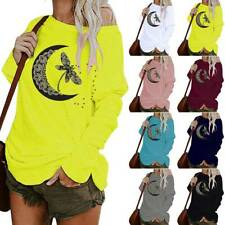 Women Long Sleeve One Shoulder Blouse Shirts Ladies Print Baggy Pullover Tops UK