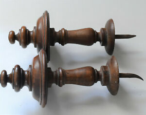 French Antique Finials, Curtain Tiebacks , Tourned Wood ,made 19 th Century