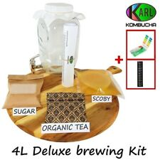 4L Deluxe Kombucha Brewing Kit, Organic Scoby, glass Dispenser PH strips & more