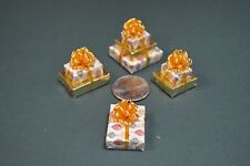Miniature Christmas Presents, a triple, 2 doubles and a single,Vintage ornaments