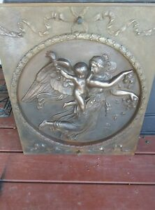 1800's, Early 1900's Neoclassical Relief Of Day Cast Iron Fireplace Cover