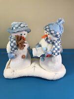 "Mr & Mrs Snowman Pan Asian Creations 10"" Musical Sings Let it Snow - SEE VIDEOI"