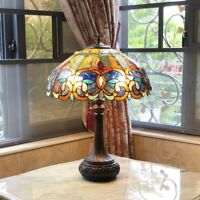 Tiffany Style Victorian Stained Glass Table Lamp 2 Bulb Antique Dark Bronze Base
