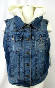 Green Bay Packers Womens XL Touch Faux Layered Hooded Denim Vest Jacket APAC 283