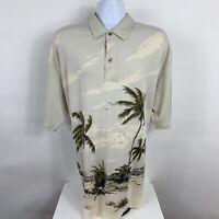 Nautica Deck Shirt Polo Men's sz XXL 2XL Tan Palm Trees Hawaiian Beach NWT