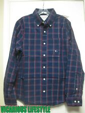 BNWT Abercrombie & Fitch Men's Plaid Check Solid Navy Shirt Small (S)