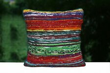 Indian Hand Loomed Pillow Cases 2 Pcs Rag Rug Cushion Cover 16x16 Square Pillows