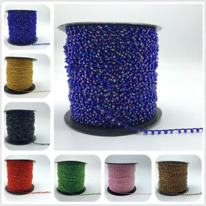 5yards Crystal Beads Lace Trim Ribbon Sequin Fabric Beaded DIY Sewing Decoration