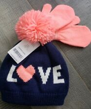 NWT Carter's girls hat and mitten set Sz 12-24 Months, navy and pink