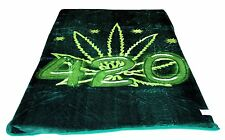 NEW QUEEN SIZE 420 CANNABIS POT LEAVE MARAJUANA KOREAN STYLE PLUSH MINK BLANKET